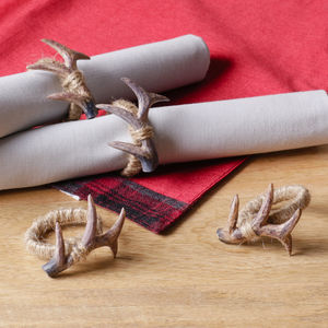 Set Of Four Winter Christmas Antler Jute Napkin Rings - napkins & napkin rings