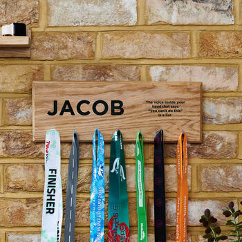 Personalised Oak Medal Hanger Achievement Hook Board