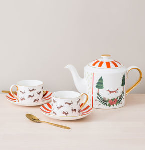 Fox And Rabbits Bone China Teapot - teapots
