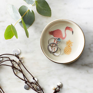 Flamingo And Pineapple Ring Plate - children's jewellery