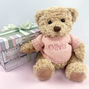 Personalised Bertie Bear With Boxed Pyjamas, Pink