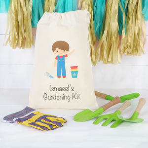 Boys Gardening Set With Personalised Cotton Bag