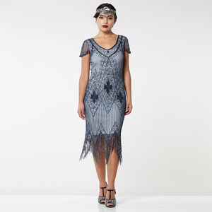 Gatsbylady Annette Fringe Flapper Dress In Blue Grey - dresses