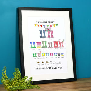 Personalised Welly Boot Family Tree Print - family & home