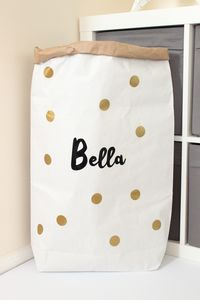 Personalised Spots Paper Storage Bag - children's room