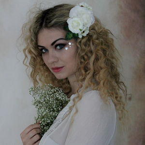 White Blossom Flower Hair Clip - head pieces
