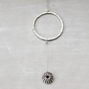 Sea Urchin And Circle Pendant Necklace