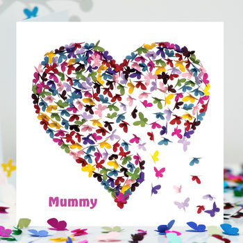 Mummy Kaleidoscope Butterfly Card, Mummy Heart Card
