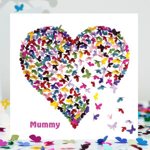 Mummy Butterfly Birthday Card, Mummy Heart Card - birthday cards