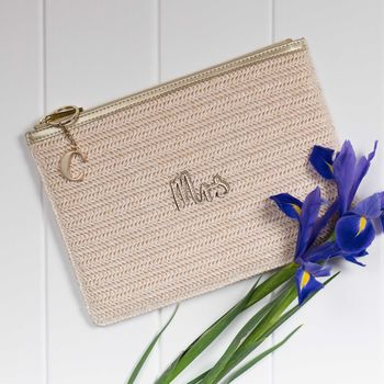 Personalised Woven Gold Straw 'Mrs' Pouch