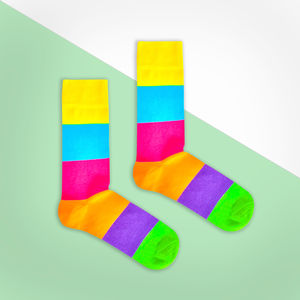 Rainbow Multi Colour Big Stripe Sock - men's fashion