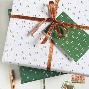 Mini Forest White Wrapping Paper Set - cards & wrap