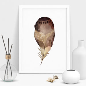 Natural Watercolour Feather Print - nature & landscape