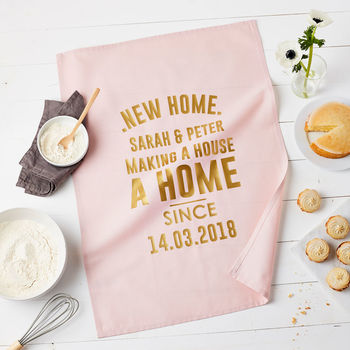 Personalised New Home Tea Towel Gift