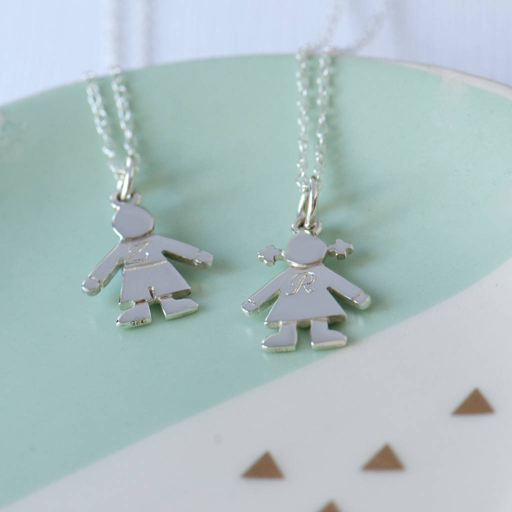 Boy And Girl Initial Silver Necklace In Sterling Silver