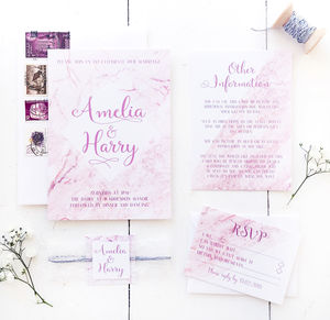 Marble Effect Wedding Invitation Set - invitations