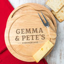 Personalised Couples Cheese Board And Knife Set