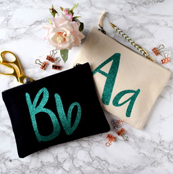 Personalised Sparkly Initial Pencil Case