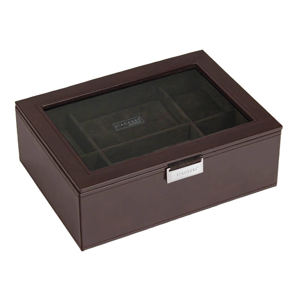 Mens Chocolate Brown 8pc Watch Box
