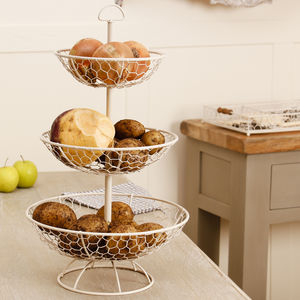 Country Cottage Wire Three Tier Storage Rack - stands