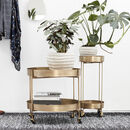 Pale Brushed Gold Bar Cart / Side Table