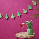 Tropical Wooden Cactus Bunting Garland