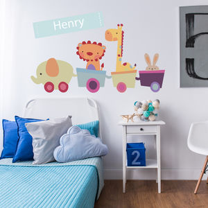 Personalised Animal Train Wall Stickers - children's room
