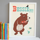 Personalised 'Busking Bear' Name Print