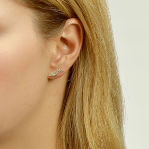 Flash Ear Studs With Sapphires - earrings