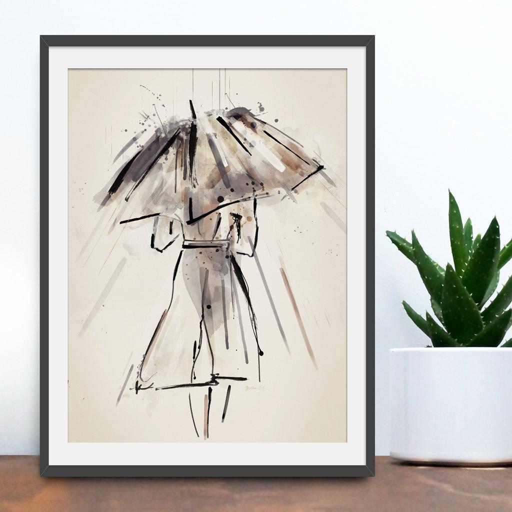 Raindrops Keep Falling Watercolour Art Print