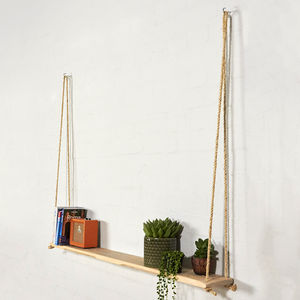 Hanging Reclaimed Industrial Pallet Wooden Shelf - shelves