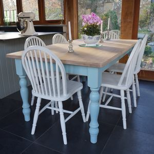 Farmhouse Table And Hoop Back Chairs Hand Painted