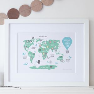 Personalised New Baby Or Kids World Map Print - new in prints & art