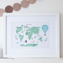 Personalised New Baby Or Kids World Map Print