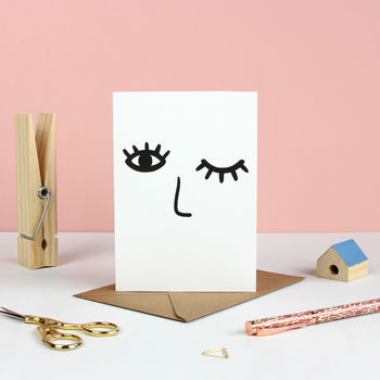 Winking Face Greetings Card