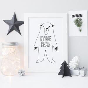 Personalised Scandi Bear Print - pictures & prints for children