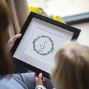 Personalised New Baby Flower Wreath Print