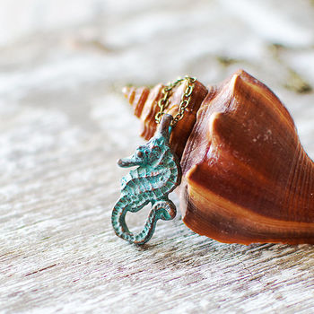Seahorse Nautical Patina Necklace