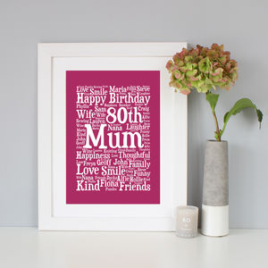 Personalised 80th Birthday Word Art Gift - birthday gifts