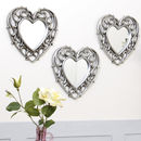 Set Of Three Champagne Heart Wall Mirrors
