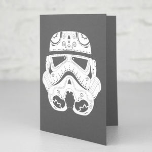Stormtrooper Candyskull Greetings Card - birthday cards