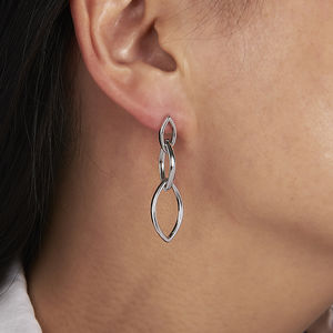 Three Oval Links Drop Earrings