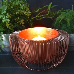 Copper Wire Bowl Candle Holder - dining room