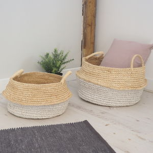 Natural Wicker Baskets Two Sizes