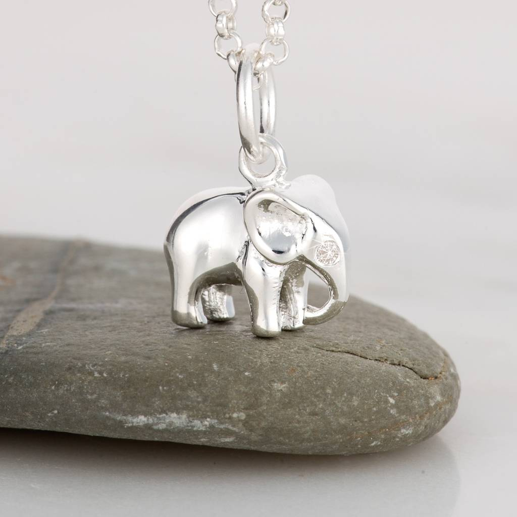 Diamond And Silver Elephant Necklace