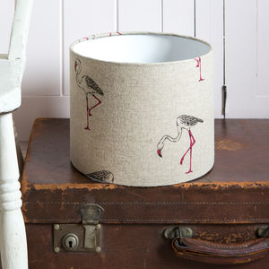 Flamingo Linen Drum Lampshade - lighting