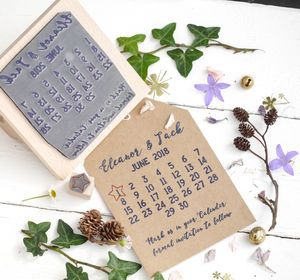 Calendar Save The Date Marker Stamp - wedding favours