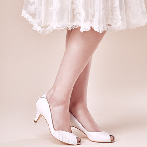 Wedding Peep Toe Ada Pearlised Ivory Leather