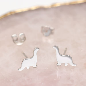 Sterling Silver Mini Dinosaur Earrings - earrings