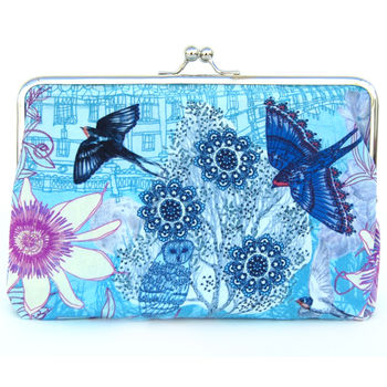 Passion Blue Silk Clutch Bag